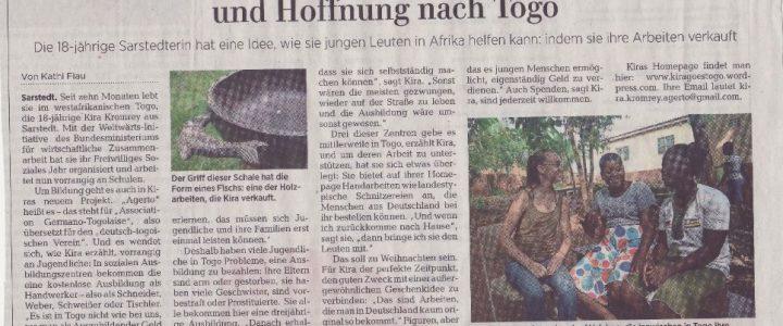 """,,Kira will Handarbeiten nach Hause bringen – und Hoffnung nach Togo"""" – Zeitungsartikel"""