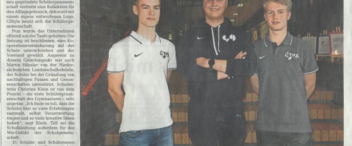""",,Schülerfirma GStyle will künftig für coolen Look der Gymnasiasten sorgen"""" – Zeitungsartikel"""